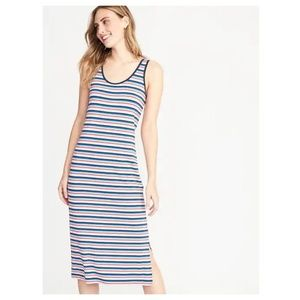 Old Navy Striped Fitted Midi Tank Dress